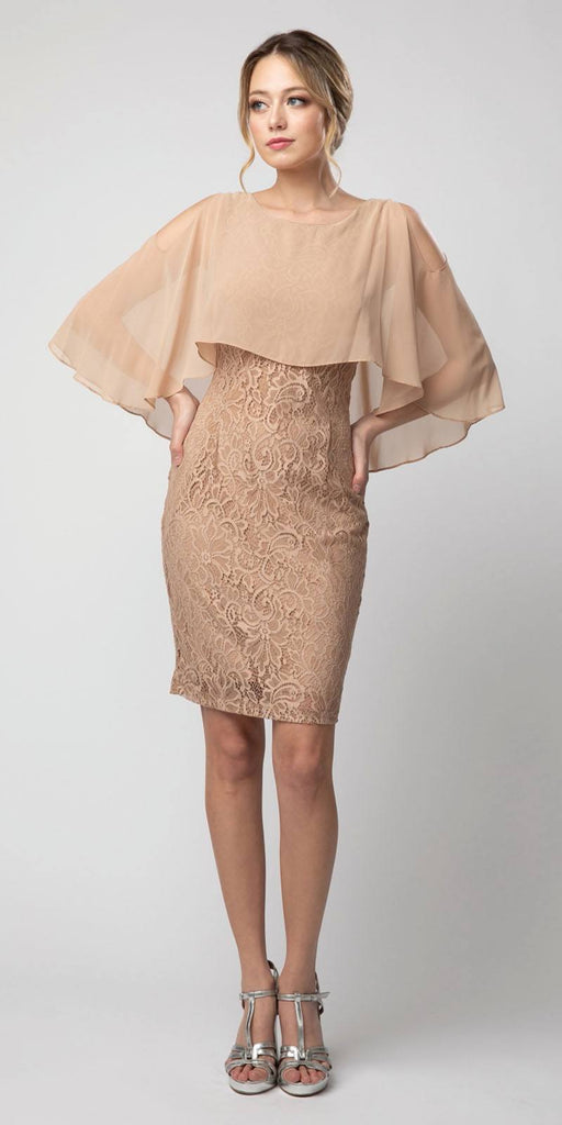 Lace Short Dress Mocha with Cold-Shoulder Poncho