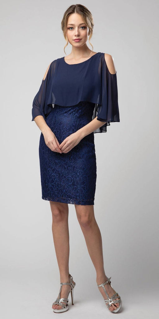Lace Short Dress Navy Blue with Cold-Shoulder Poncho