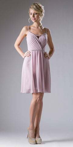 Cinderella Divine 1009 Pleated Bodice V-Neck Short Cocktail Dress Embellished Strap Marble