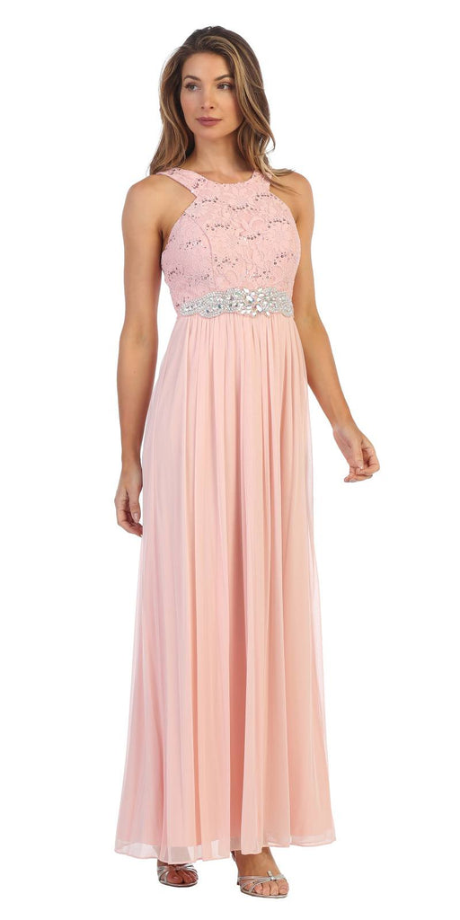 Blush Halter Long Formal Dress with Embellished Waist
