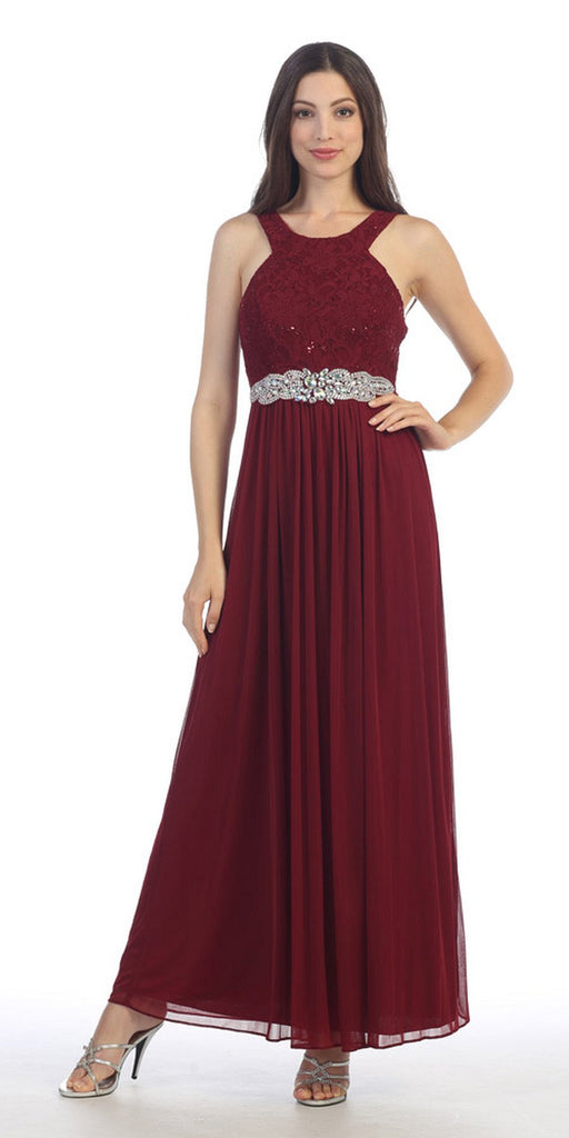 Burgundy Halter Long Formal Dress with Embellished Waist
