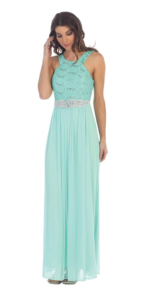 Mint Halter Long Formal Dress with Embellished Waist