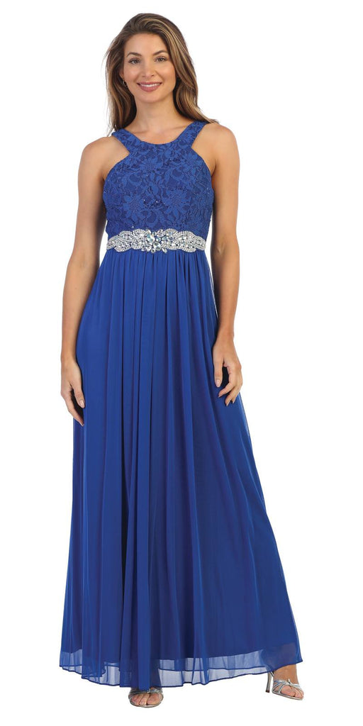 Royal Blue Halter Long Formal Dress with Embellished Waist