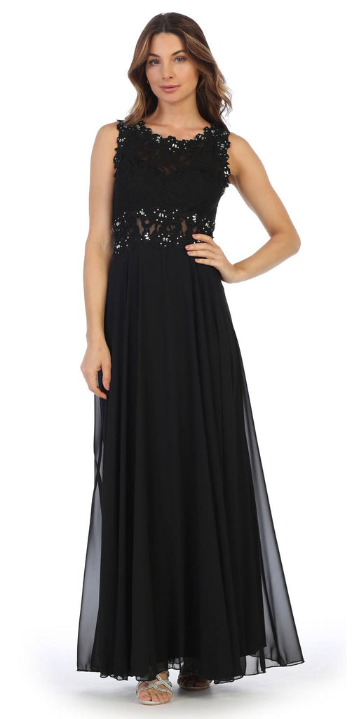 Sleeveless Long Formal Dress with Lace Bodice Black
