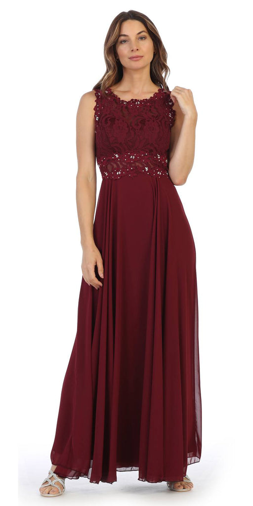 Sleeveless Long Formal Dress with Lace Bodice Burgundy