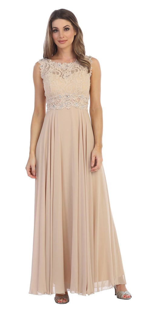 Sleeveless Long Formal Dress with Lace Bodice Champagne
