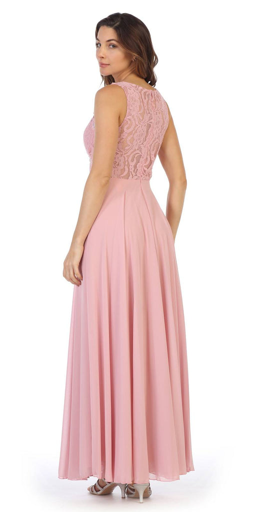 Sleeveless Long Formal Dress with Lace Bodice Dusty Rose