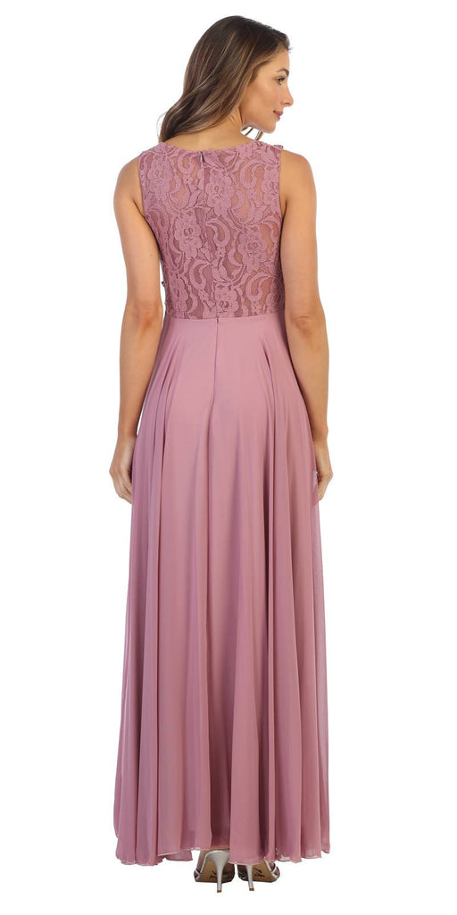 Sleeveless Long Formal Dress with Lace Bodice Mauve