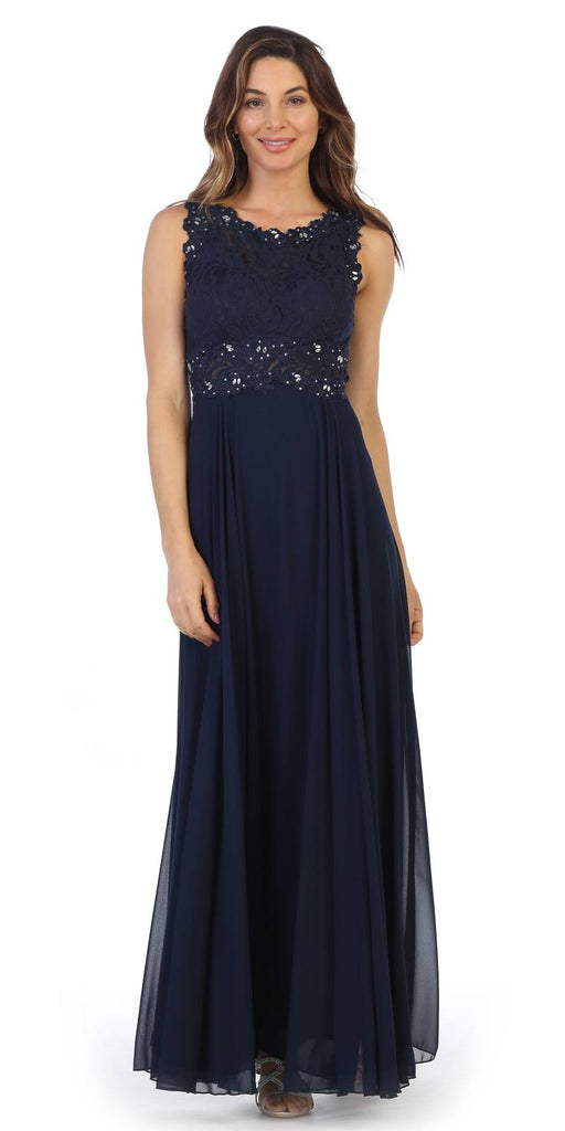 Sleeveless Long Formal Dress with Lace Bodice Navy Blue