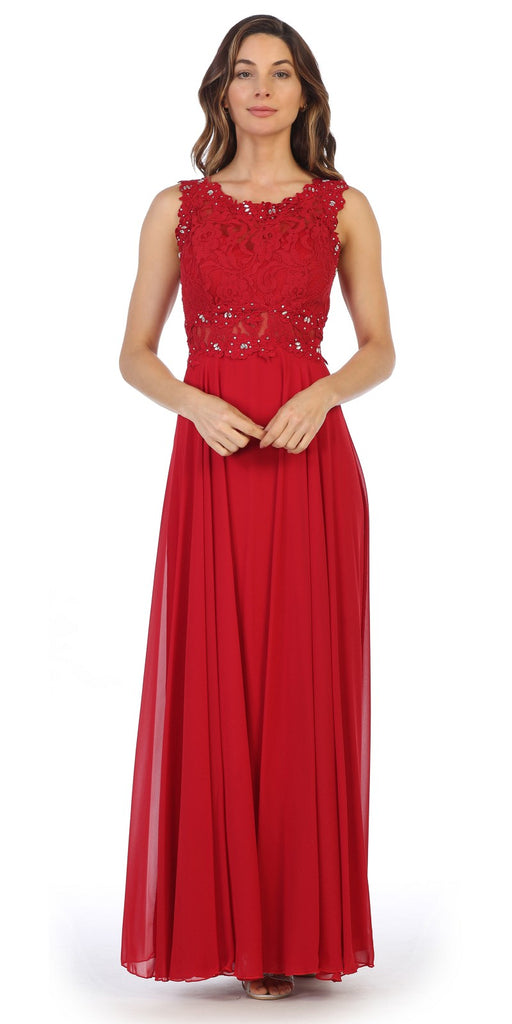 Sleeveless Long Formal Dress with Lace Bodice Red