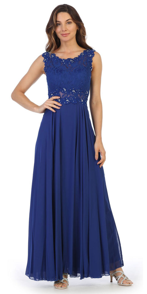 Sleeveless Long Formal Dress with Lace Bodice Royal Blue