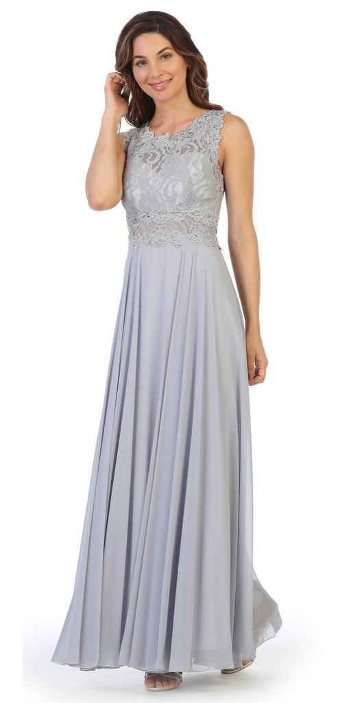 Sleeveless Long Formal Dress with Lace Bodice Silver