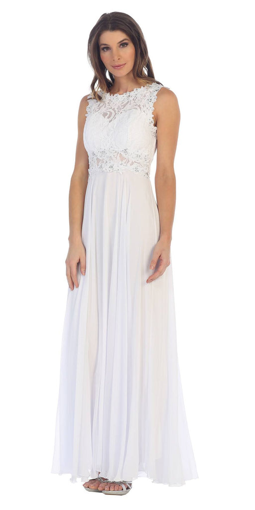 Sleeveless Long Formal Dress with Lace Bodice White