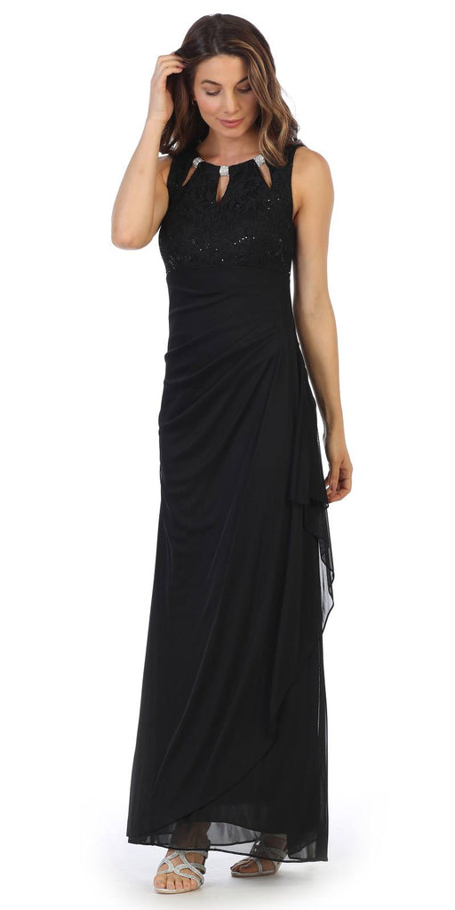 Black Sleeveless Long Formal Dress with Stylish Neckline