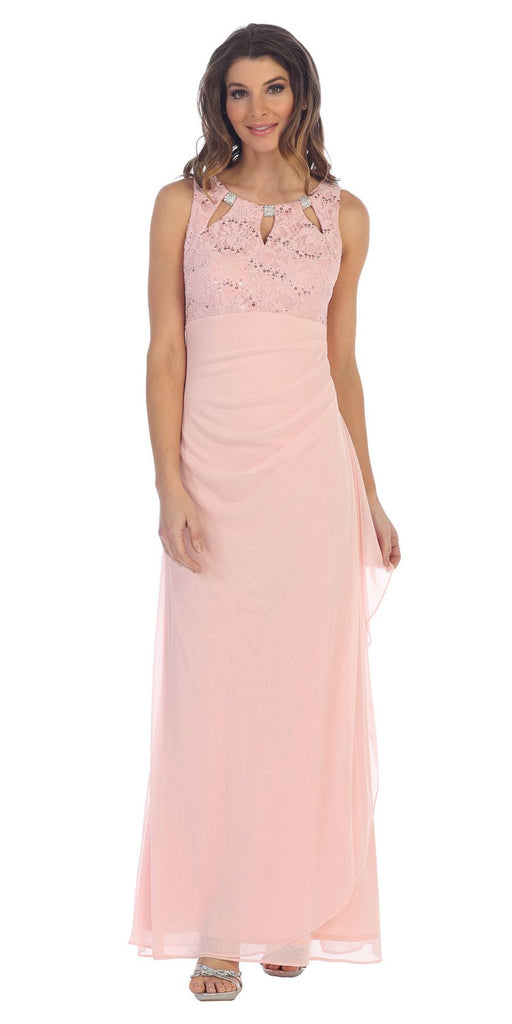 Blush Sleeveless Long Formal Dress with Stylish Neckline