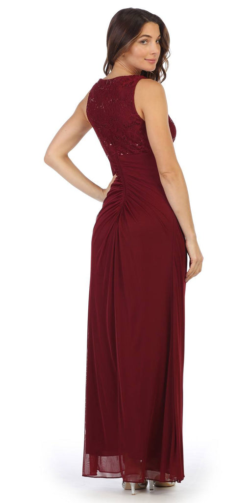 Burgundy Sleeveless Long Formal Dress with Stylish Neckline