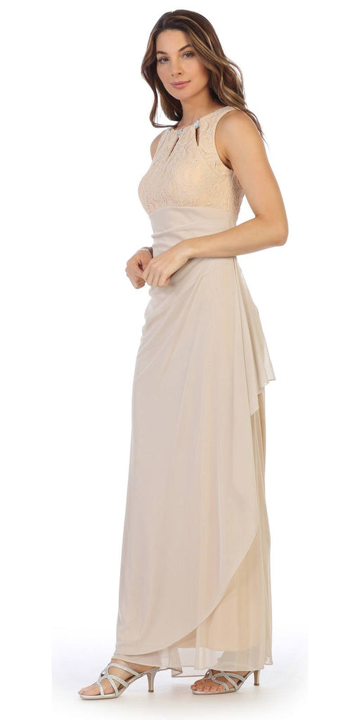 Champagne Sleeveless Long Formal Dress with Stylish Neckline