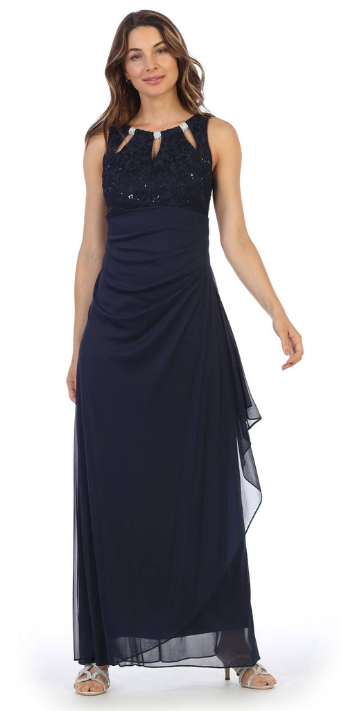 Navy Blue Sleeveless Long Formal Dress with Stylish Neckline