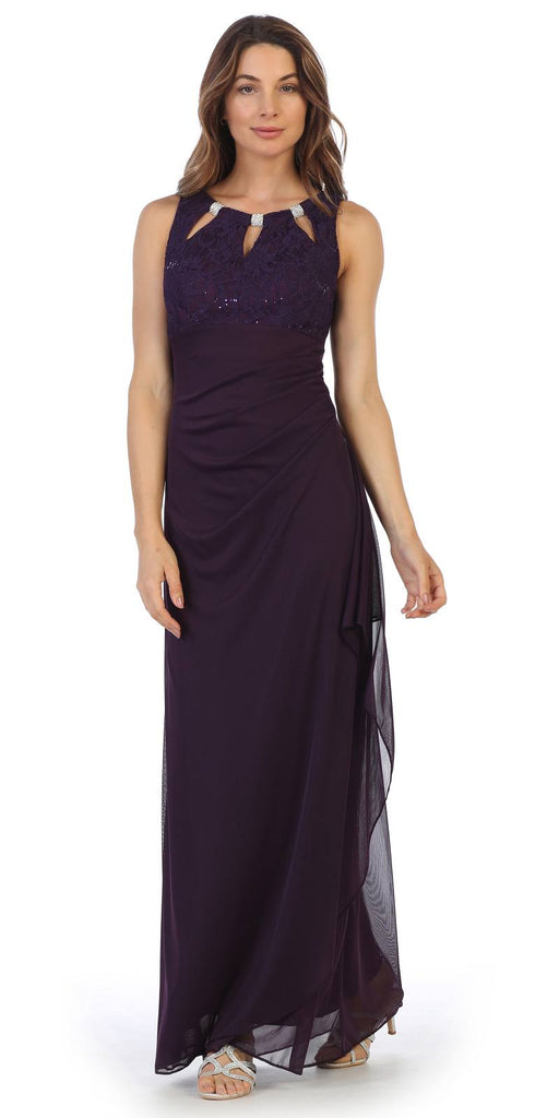 Plum Sleeveless Long Formal Dress with Stylish Neckline