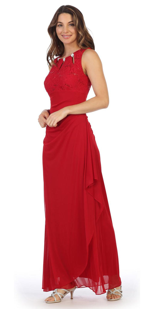 Red Sleeveless Long Formal Dress with Stylish Neckline