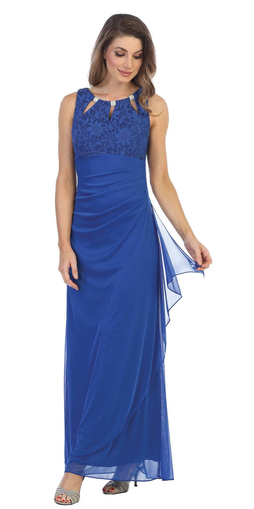 Royal Blue Sleeveless Long Formal Dress with Stylish Neckline