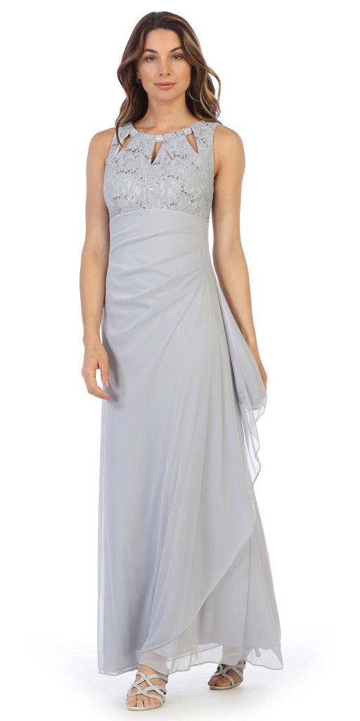 Silver Sleeveless Long Formal Dress with Stylish Neckline