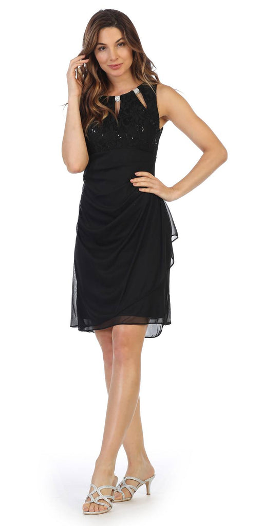 Black Stylish Neckline Wedding Guest Short Dress