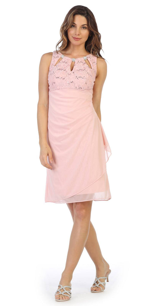 Blush Stylish Neckline Wedding Guest Short Dress