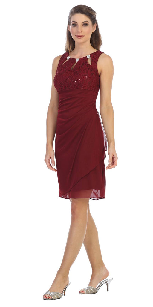 Burgundy Stylish Neckline Wedding Guest Short Dress