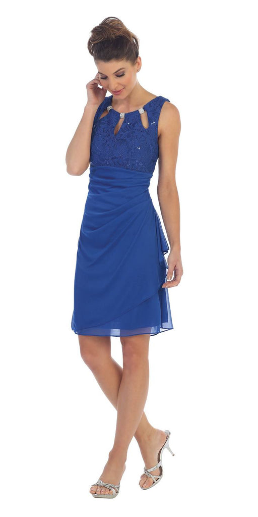 Royal Blue Stylish Neckline Wedding Guest Short Dress