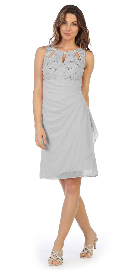 Silver Stylish Neckline Wedding Guest Short Dress