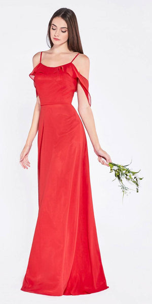 Cold-Shoulder Ruffled Long Formal Dress Red