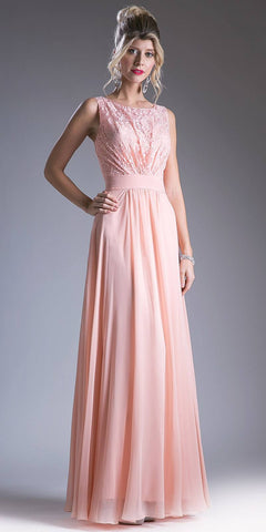 Lace Shirred Bodice Sleeveless Floor Length Formal Dress Peach