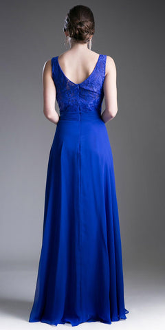 Lace Shirred Bodice Sleeveless Floor Length Formal Dress Royal Blue