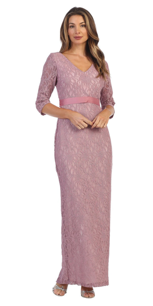 Mauve Quarter Sleeve Long Formal Dress V-Neck