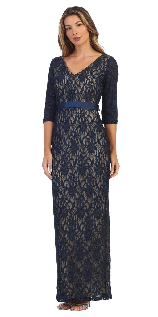 Navy Blue Quarter Sleeve Long Formal Dress V-Neck