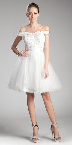 Off Shoulder Homecoming Dress with Satin Belt Off White