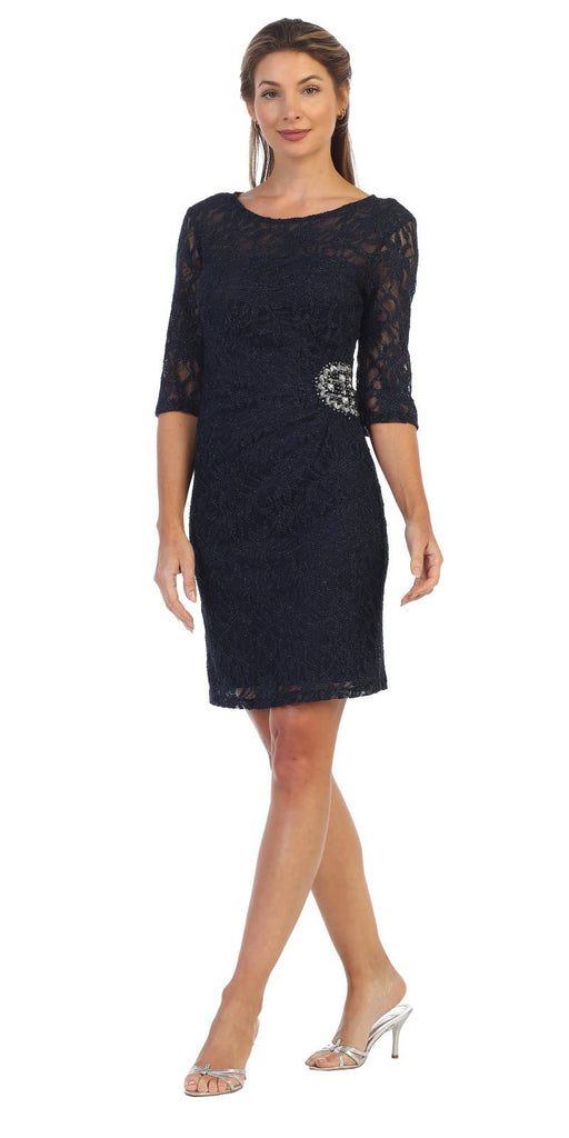 Quarter Sleeved Short Wedding Guest Dress Navy Blue