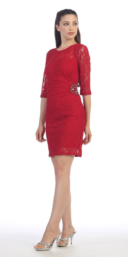 Quarter Sleeved Short Wedding Guest Dress Red