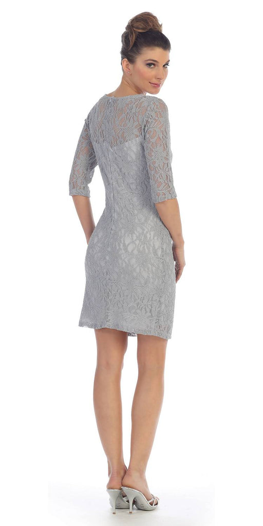 Quarter Sleeved Short Wedding Guest Dress Silver