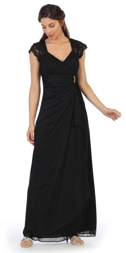 Black Long Formal Dress Cap Sleeved with Drapes