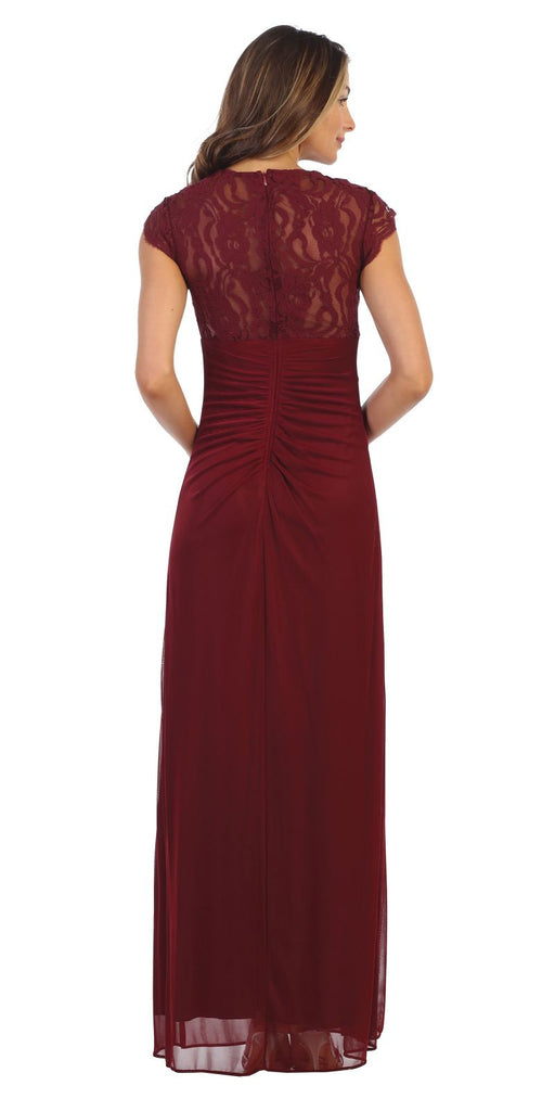 Burgundy Long Formal Dress Cap Sleeved with Drapes