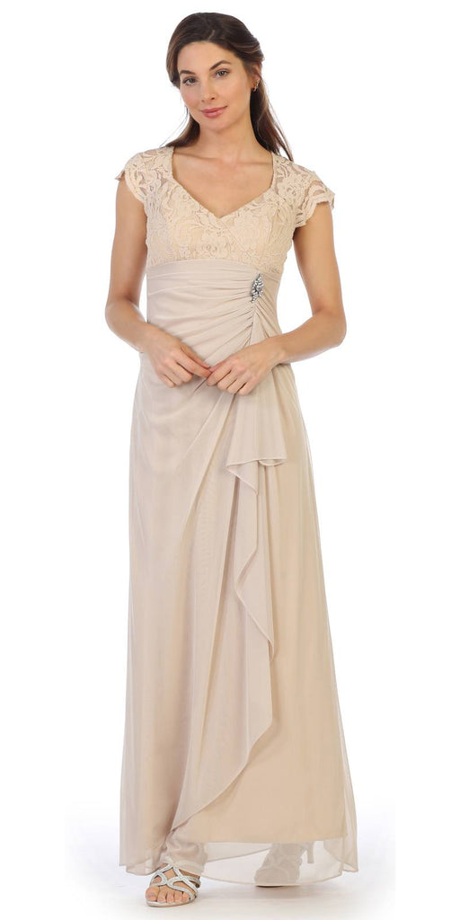 Champagne Long Formal Dress Cap Sleeved with Drapes