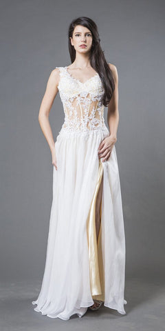 Appliqued Sheer Bodice Long Formal Dress Ivory/Champagne