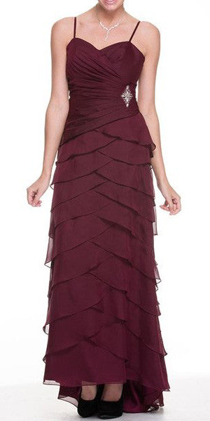 Burgundy Spaghetti Strap Chiffon Formal Dress Multi Ruffle Hem