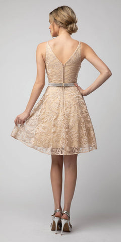 Embroidered Homecoming Short Dress Champagne V-Neck