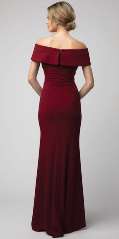 Off-Shoulder V-Neck Long Formal Dress Burgundy with Slit