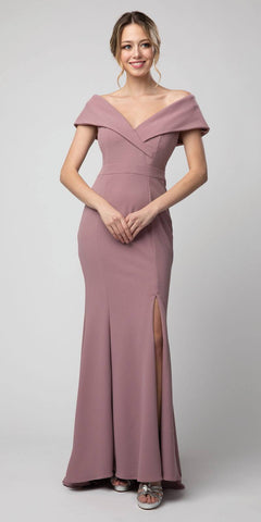 Floor Length Satin A-Line Dress Eggplant Pleated Bodice Leg Slit