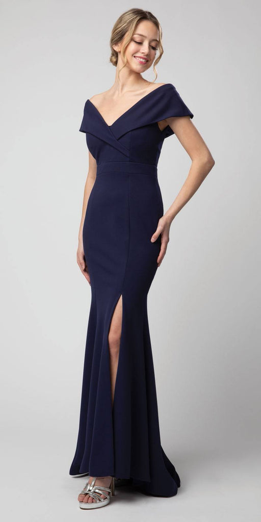 Off-Shoulder V-Neck Long Formal Dress Navy Blue with Slit