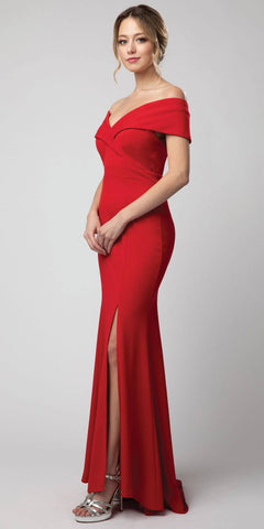 Off-Shoulder V-Neck Long Formal Dress Red with Slit